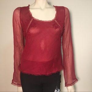 Max Studio Red Silk Blouse